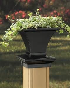 black square planter post cap