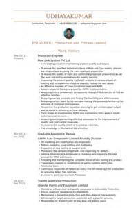 resume sles for production engineer production engineer resume sles visualcv resume