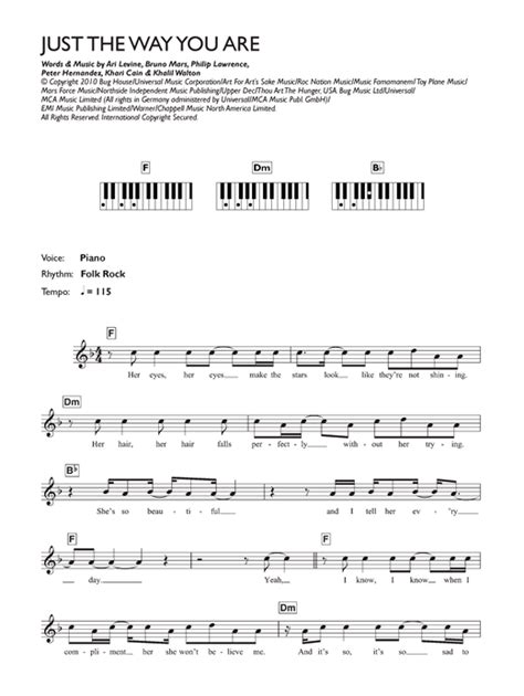tutorial keyboard just the way you are just the way you are sheet music by bruno mars keyboard