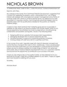 Web Developer Cover Letter Exle by Web Developer Cover Letter Exles For It Livecareer