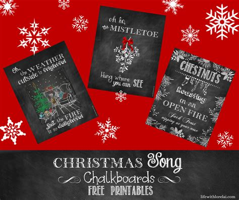 christmas gift song song chalkboards printable decor or gifts with lorelai