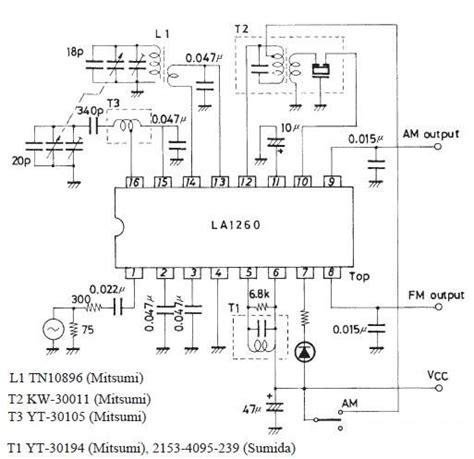 am radio integrated circuit fm if mw radio receiver circuit using la1260 integrated circuit