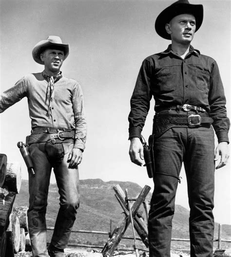 film western yul brynner caption 1960 film still of steve mcqueen and yul brynner