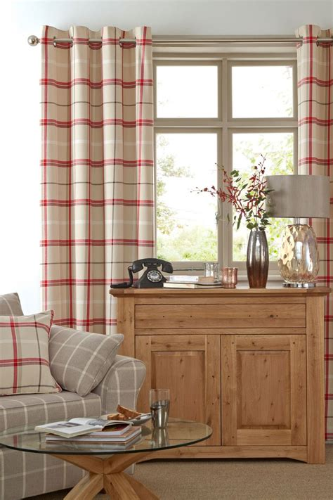 living room curtains next buy red woven eyelet check curtains from the next uk