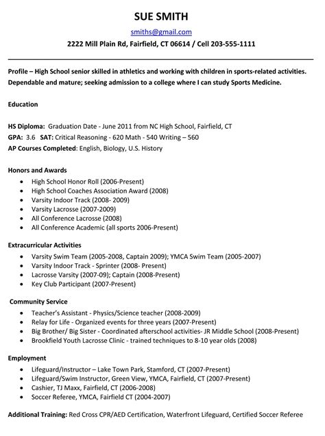 sle high school resume for scholarships exle resume for high school students for college