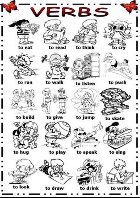 imagenes de verbos en ingles blanco y negro action verbs picture dictionary