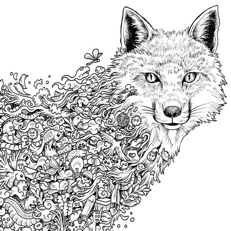 fox coloring page for adults fox adult coloring book coloring pages