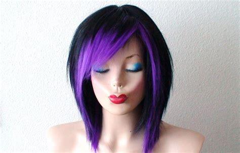 emo hairstyles wigs black purple wig black scene hair wig black purple