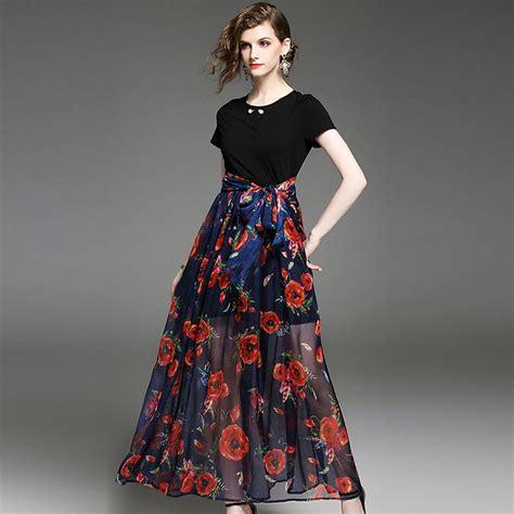 High Quality Dress H7120 summer dress 2017 new fashion brand sleeve o neck dresses high quality flowers