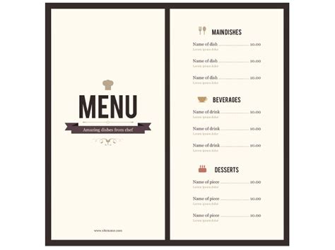 restaurant menu template free word 8 menu templates excel pdf formats