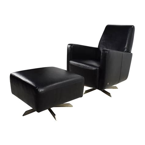 90 Off Natuzzi Natuzzi Black Leather Swivel Chair With Natuzzi Leather Ottoman