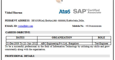 Mba With Sap Certification by 10000 Cv And Resume Sles With Free Sap