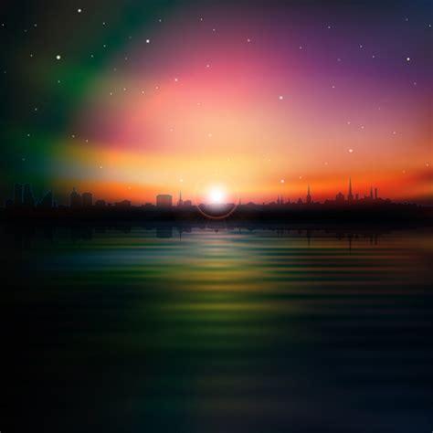 sunset landscapes background vector  vector background