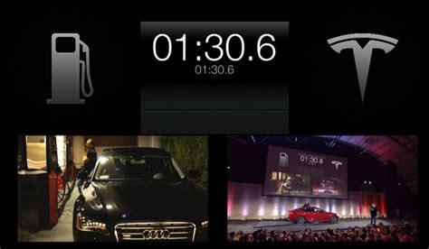 Tesla Model S Battery Change Tesla Showcases 90 Second Battery Pack Model S