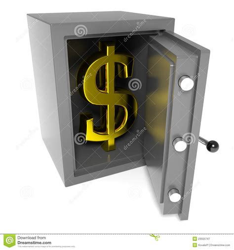 open bank open bank safe with gold dollar sign inside royalty free