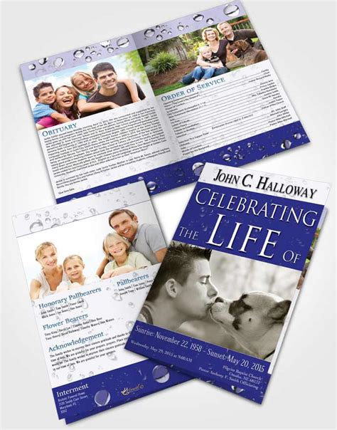 bifold order of service obituary template brochure summer
