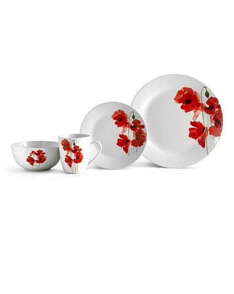 poppy 24 piece dinnerware set home beauty gift shop