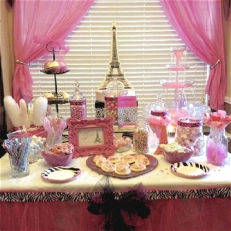 Bday Decorations At Home paris theme pink candy bars and pink candy on pinterest
