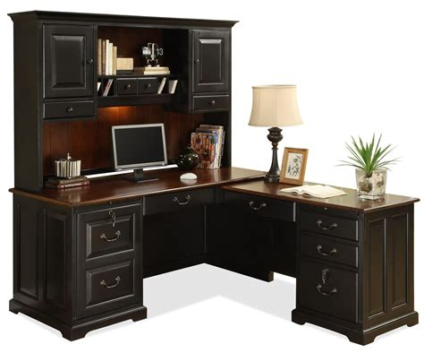 wood l shaped desk with hutch store your all office items through computer desk with