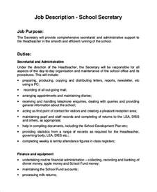 sample secretary job description 8 examples in pdf word
