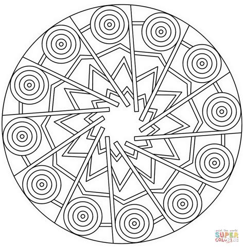 mandala with stars and circles coloring page free