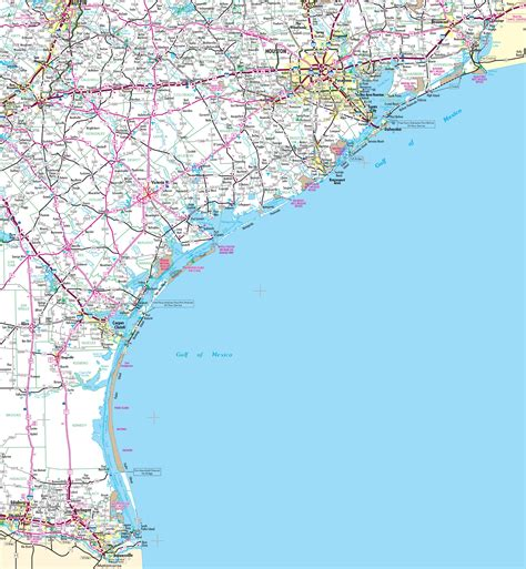 texas coastal cities map map of texas coast