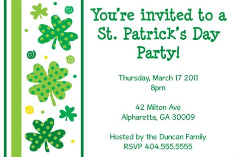 st s day invitation card templates free invitation templates st s day