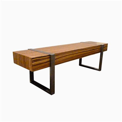 custom wood benches hand made welded modern interior zebra wood bench seat by bader art metal