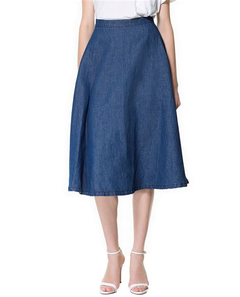 denim midi skirts for fall winter 2018