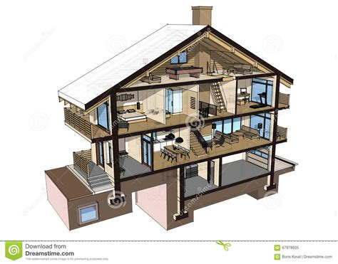 drawing with 3d house stock illustration image of 3d section of a country house stock illustration