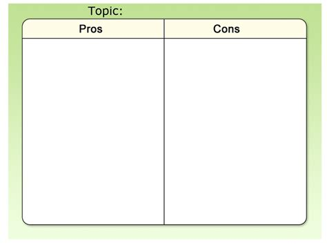 pro con list template template pros and cons rm easilearn us
