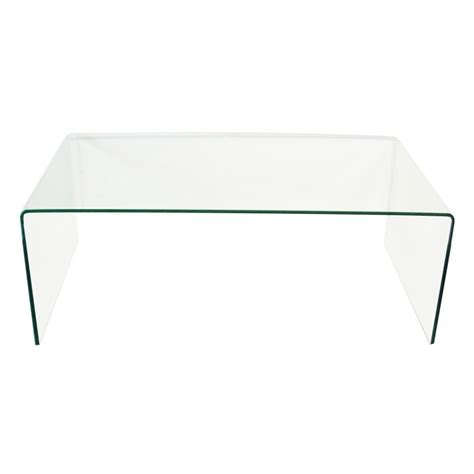 clear bent glass coffee table   thick