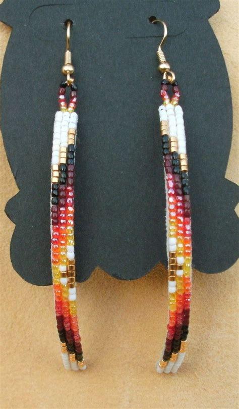 beadwork earrings curved beaded earrings in white and