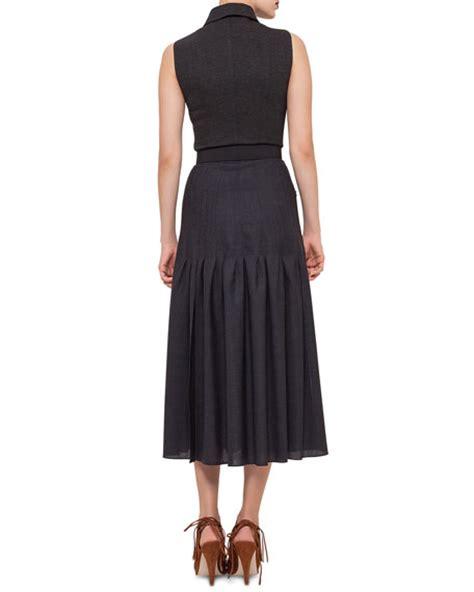 akris punto sleeveless zip front belted dress black denim