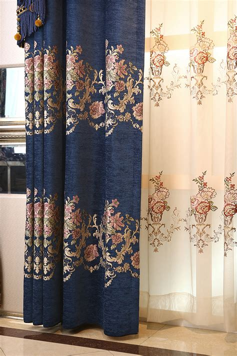 navy blue floral jacquard chenille luxury thermal valance curtains