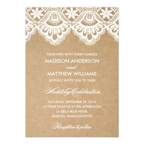 White lace wedding invitations with script and sans serif