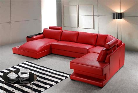 red leather modern sofa modern red leather sectional sofa