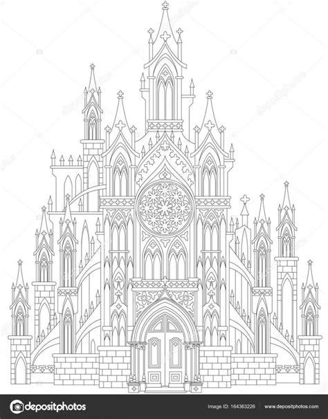 Fantasia de desenho do castelo gótico medieval. Página
