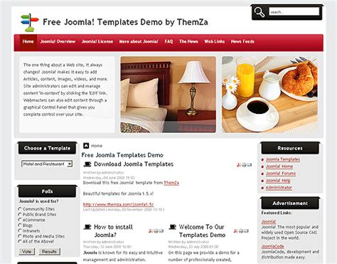 hotel industry templates free templates 187 joomla 1 5 x 187 hospitality industry on themza a hotel and restaurant