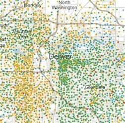 New York Times Racial Map by Denver Racial Boundaries New York Times Census Maps Show