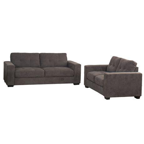 Grey Tufted Sofa Set Corliving Club Tufted Grey Chenille Fabric Sofa Set