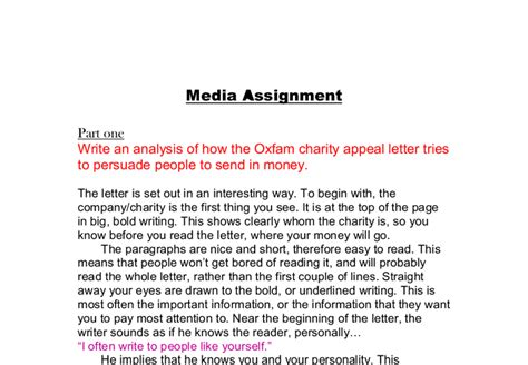 persuasive writing charity appeal letters write an analysis of how the oxfam charity appeal letter