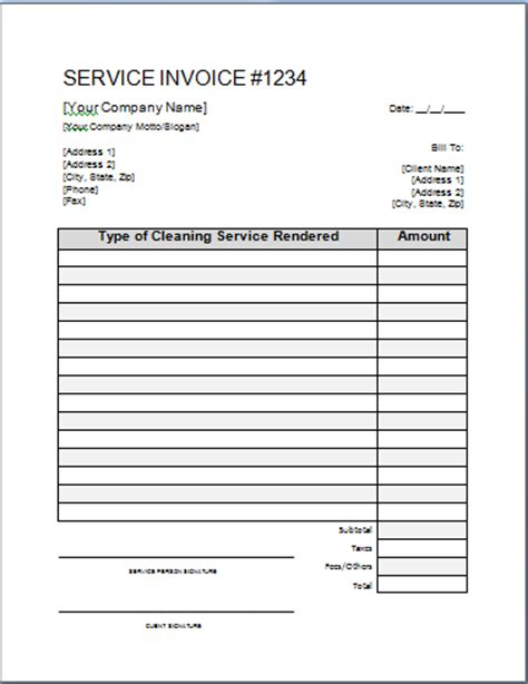 cleaning invoice template cleaning invoice template printable templates