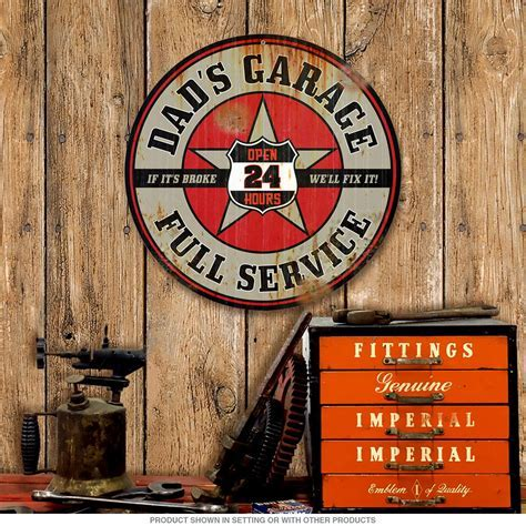 Dads Garage Full Service Weathered Metal Sign 14 in at