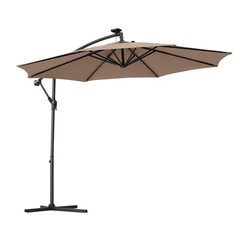10 Offset Patio Umbrella Outsunny 10 Outdoor Offset Tilt Patio Umbrella Garden Sunshade 8 Steel Ribs W Solar Led Lights