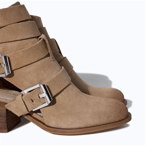 zara suede leather block heel ankle boot in brown lyst