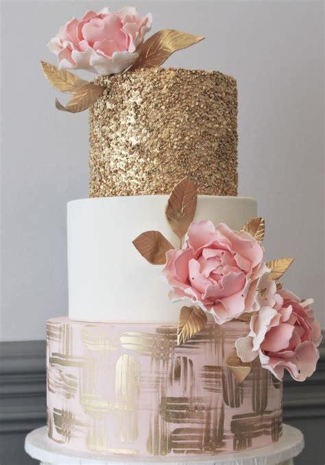 Hochzeitstorte Gold by Three Tier Pink And Gold Wedding Cake Tier Wedding Cakes