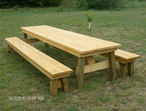 classic picnic table  separate benches plan