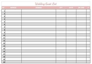 guest list template word 8 wedding guest list templates word excel pdf formats