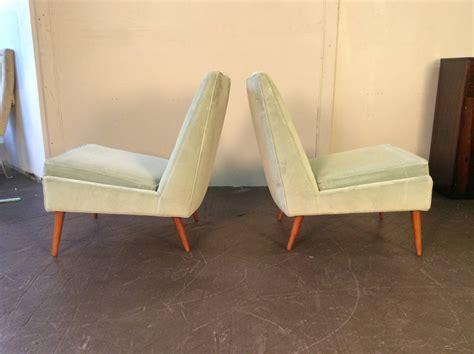 upholstery foam nyc 1950s slipper lounge chairs in sea foam velvet in the